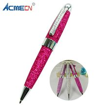 ACMECN Mini MB Style Ballpoint Pen with Crystal PU leather Glitter Pens Lady Birthday Gift Jewellery Crystal Bling Writing Pen(China)