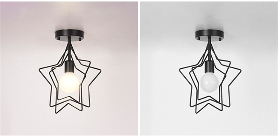 Creative Pentagram Iron Industrial wind Ceiling Light Retro circle E27 Black/Gold Ceiling Lamp For Restaurant Bar Coffee Shop