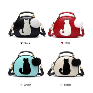 Image 3 - 2020 Women Shoulder Bags Crossbody Bag For Women Handbag PU Leather Full Moon Candy Color Cute Cat With Fur Ball
