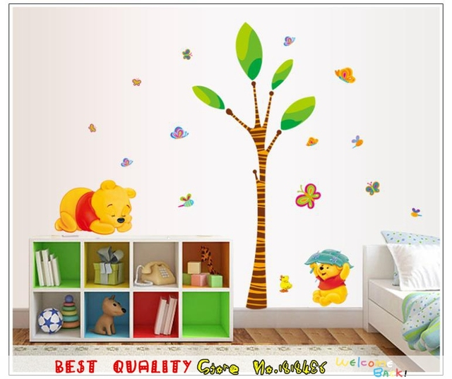 Winnie The Pooh Wall Stickers Playing Tree Bear Butterfly Henna ...