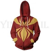 Men and Women Zip Up Hoodies Iron Spiderman 3d Print Hooded Jacket Mravel 4 Movie Superheroes Sweatshirt  Streetwear Costume