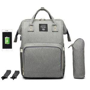Image 2 - Lequeen usbおむつバッグベビーケア大容量ママバックパックミイラ産科ウェットバッグ防水ベビー妊娠中のバッグ