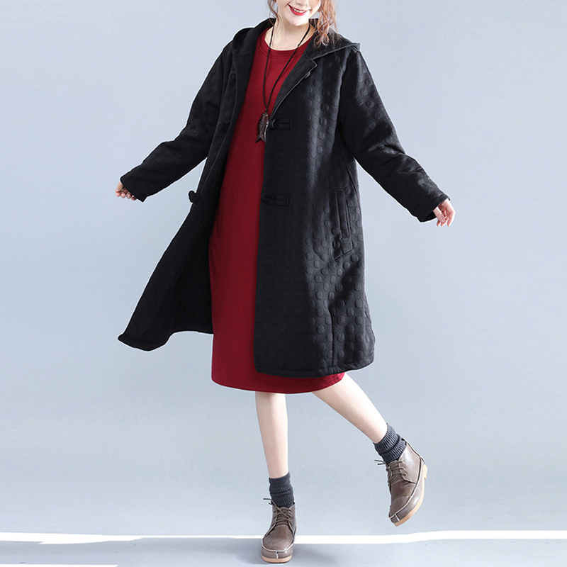 Women Long Trench Coat Loose Upset Add Wool Silk Cotton National Wind Had 85 Coats Black 8315