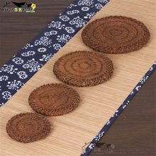 1 Piece Hand Knitting Natural Palm Silk Mat Coasters Wood Slices Bar Mats Reclaimed Willow