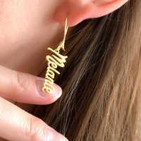 Nom Vertical boucles d'oreilles goutte pour femmes bijoux personnalisés nom personnalisé longues boucles d'oreilles acier inoxydable or rempli Bague Femme