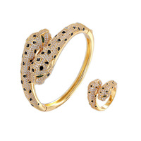 Bold Personality Copper Zircon Panther Bracelet with Two Heads Opening Hot Style Luxury Leopard Print Female Hand Ornaments