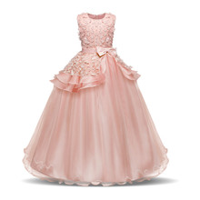 35bcfea6490 Teenage Girls Dress Summer Girl Frocks Children Clothing Princess Long  Wedding Dress Events Party Kids Dresses. 3 Colors Available