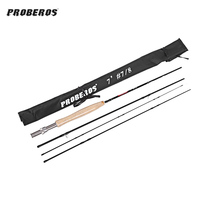 Proberos 2 1M 4 Section Carbon Fly Fishing Rod Soft Cork Handle Fish Tackle Portable Travel