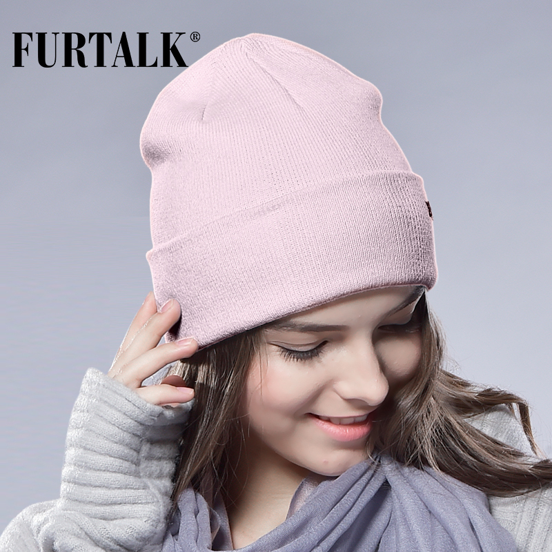 5a7066561643d FURTALK Winter Hats for Women Men Knitted Beanie Hat Cap for Girls Wool Brand  Hat Female and Male Skullies Couples Stocking Hats