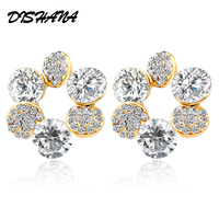 New 2014 Double Material 18k Gold Plated Platinum Plating Six Disc Plum Flower Stud Earrings E0067