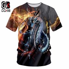 OGKB New Harajuku Men Casual Tshirt Funny Print Fire Dragon 3D T-shirt Man Hiphop Streetwear Tee Shirts Short Sleeve T Shirt 7XL(China)