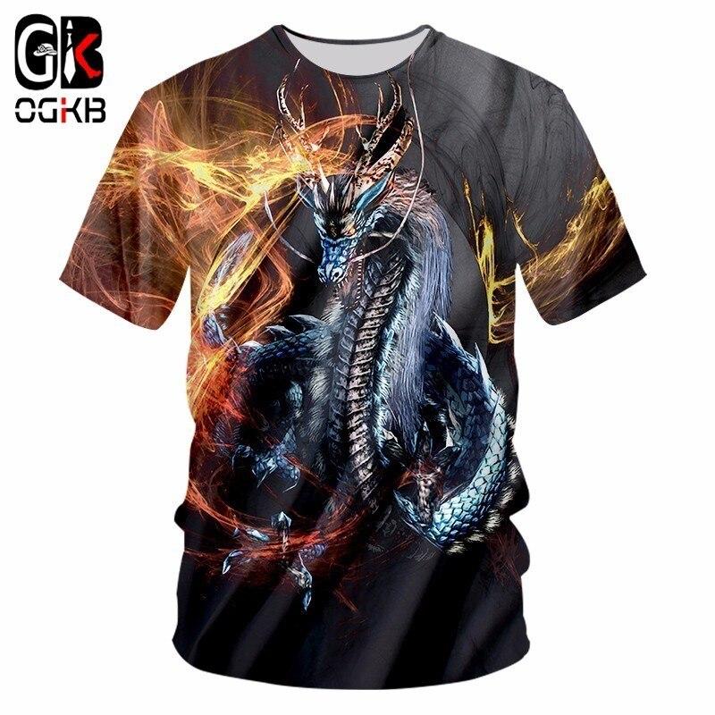 OGKB Novo Harajuku Homens Tshirt Ocasional Engraçado Impressão Dragão de Fogo 3D T-shirt Homem Hiphop Streetwear Camisetas de Manga Curta T camisa 7XL