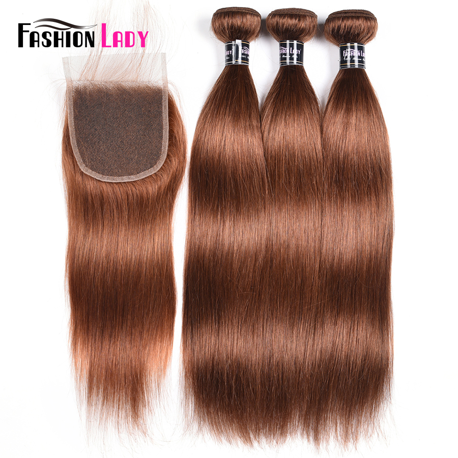 Fashion Lady Pre-Colored 3 Bundles Reddish Brown 30# Peruvian Straight Hair Weave Bundles With Free Part Lace Closure Non-Remy