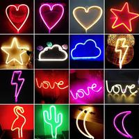New Neon Lamp Holiday Light USB Rechargeable Battery Flamingo Cactus Moon Cloud LED Night Light Home