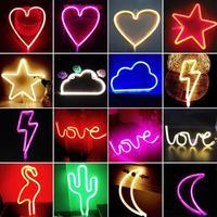 Nova Lâmpada de Néon Luz Do Feriado USB Bateria Recarregável Flamingo/Cactus/Lua/Cloud LED Night Light Home Festival Decoração do casamento 3