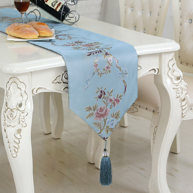 Blue Floral Embroidered Table Runner Chinese Style Side Table TV Cabinet Bed Decor Runners home dinning table runner 35x210cm