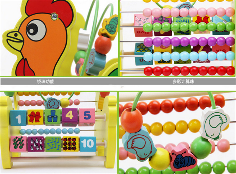 New wooden toy Color box  colorful  abacus frame wooden shelves are calculated baby toy free shipping