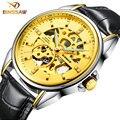 BINSSAW Aehibo tourbillon-mechanical-watch Waterproof Men'S 100M Black Leather Band Business Casual Male Pierced Fashion Watch