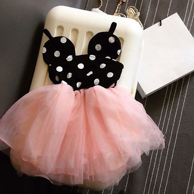 Baby Girls Cute Dots Summer Clothing Dresses Cute  Dress Kids Toddler Ball Gown Tutu Dress Pink 1 2 3 4 5 6 Years