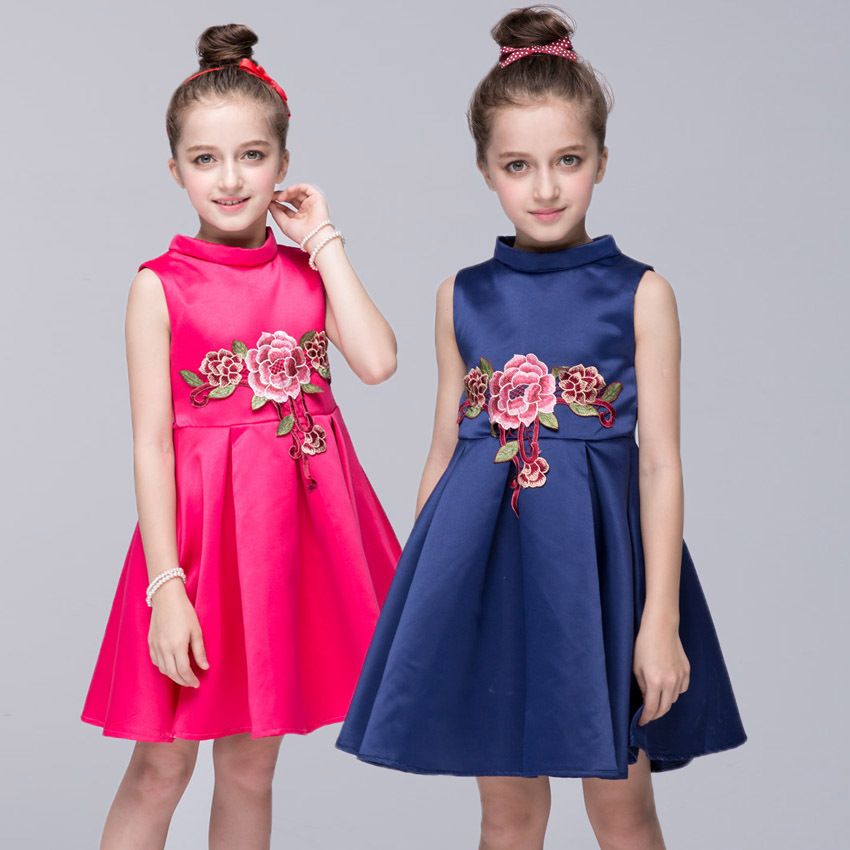 New year kids dresses for girls, hot kinetic sand sleeveless Kids Clothes wedding flower girl clothes princess dress Size 3- 8y neje yw0007 2 diy puzzle toy space sand air magic clay plasticine sand for kids pink 0 5kg