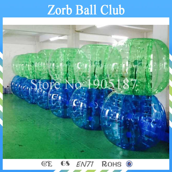 Free Shipping 14PCS(7Red +7Blue+2 Pumps) 1.0mm TPU Fashion And Quality Young TPU Bubble Soccer Balls,Bumper Balls For Team
