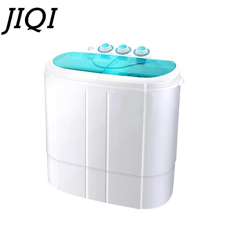 JIQI Twin Tub Compact Electric Clothes Washer Mini Washing Machine Semi-automatic Sterilization 2.5kg Cleaner 3.5kg