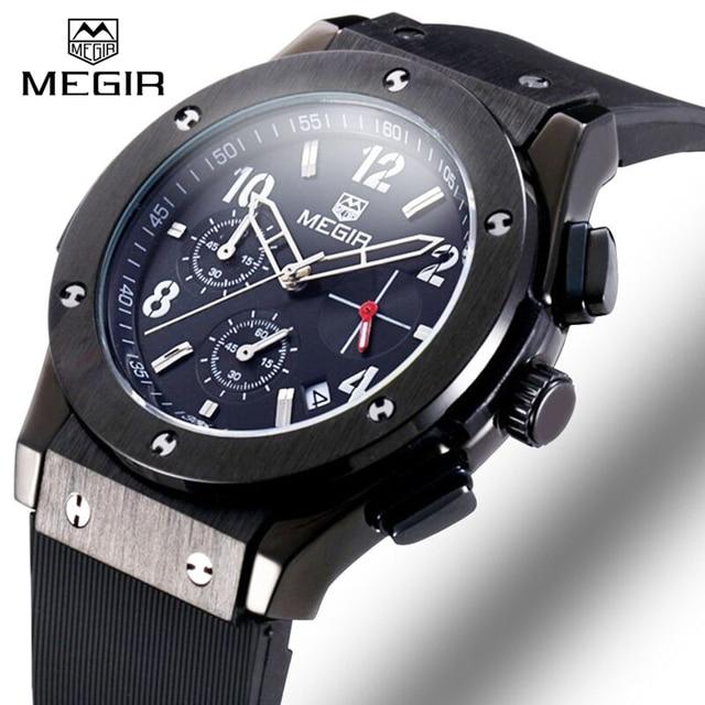 c673666ace86 Megir Marca hombres Reloj Deportivo Cronógrafo Impermeable Auto Fecha  Casual Silicona Reloj Militar Hombres Reloj de