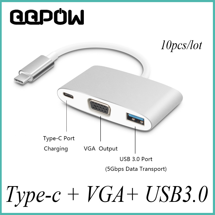 10pcs lot Multi function USB 3 1 Type C to 3 Ports VGA USB 3 0