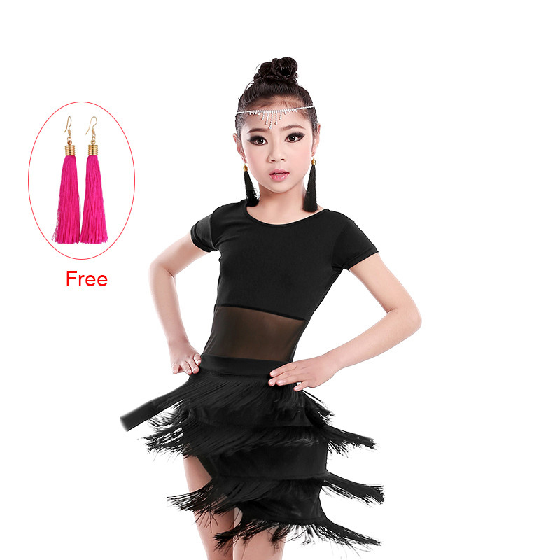 New Spandex Short Sleeve Fringe Latin Dresses Children Girls Teenager Latin Salsa Rumba Samba Tango Ballroom Dance Dress