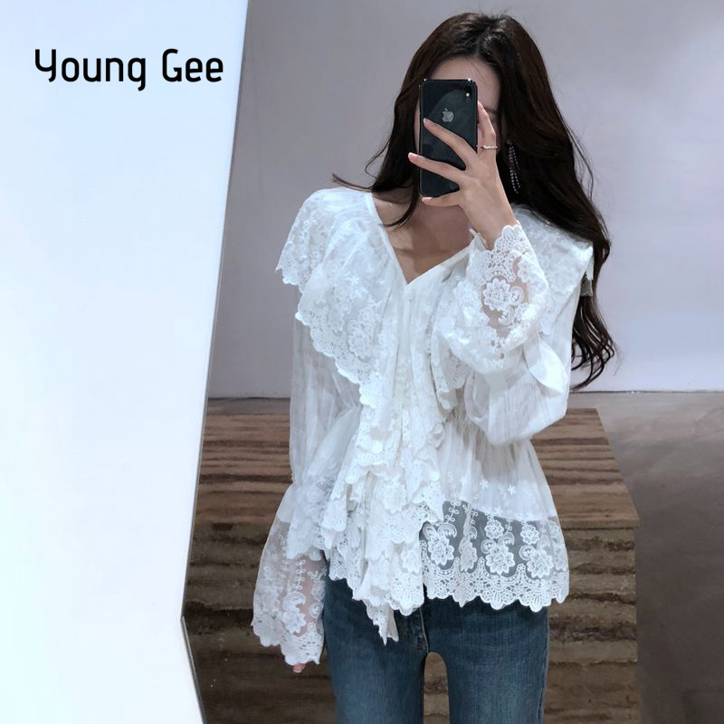 Young Gee White Black Sheer V-neck Ruffles Tops Women Long Sleeve Blous