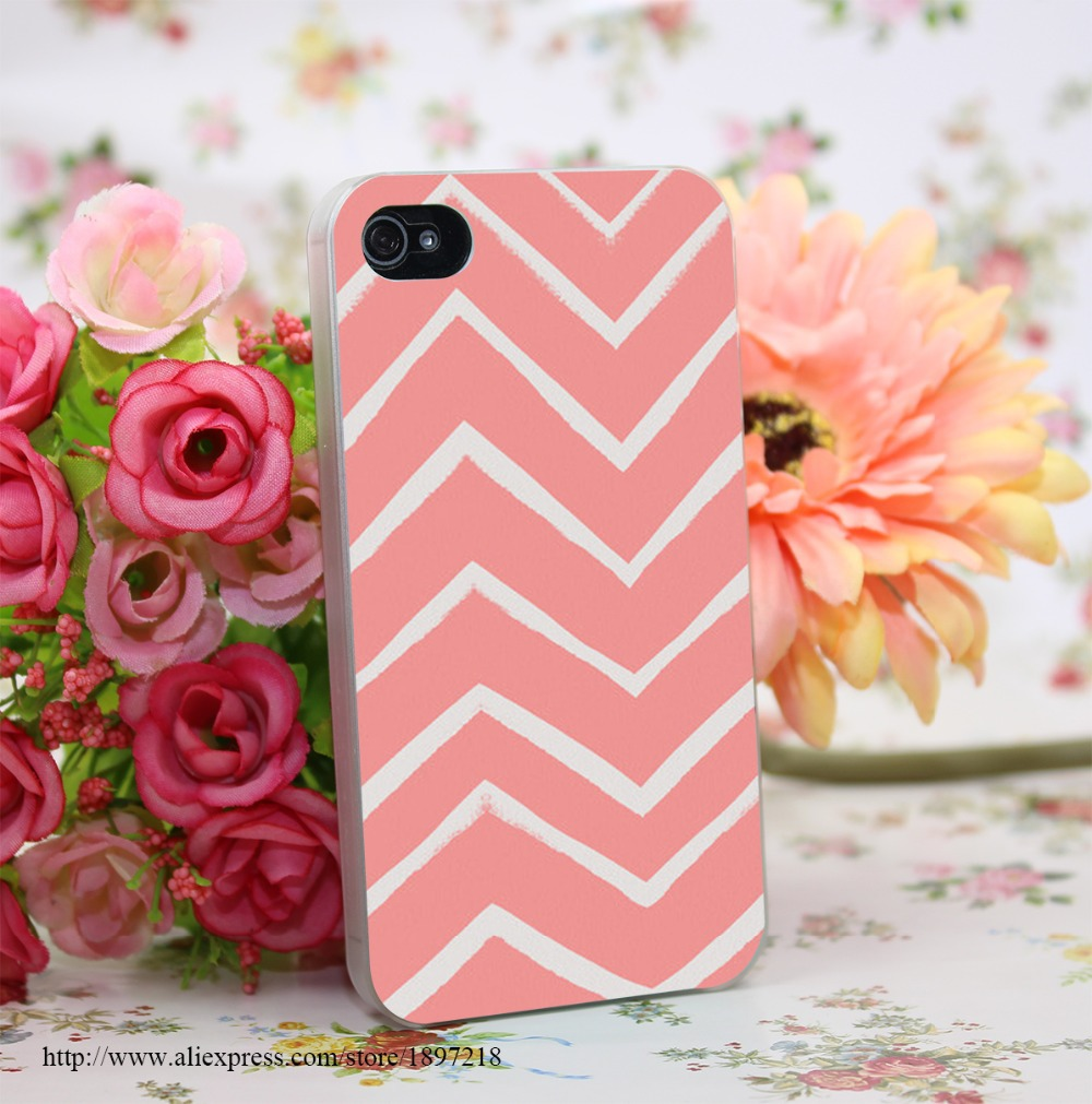 467434Y Distressed Chevron Light Salmon Pink Hard Transparent Cover Case for iphone 4 4s 5 5s 6 6s Plus 7 7 Plus