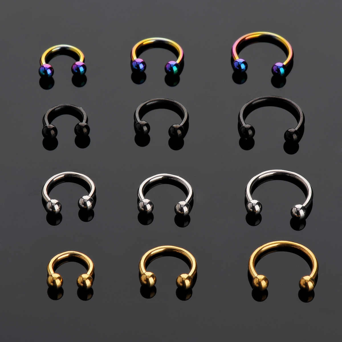 New Sale 2 Pcs Stainless Steel Nostril Nose Ring Lip Rings Earrings Sircular Piercing Ball Horseshoe Hoop Ring Body Jewelry