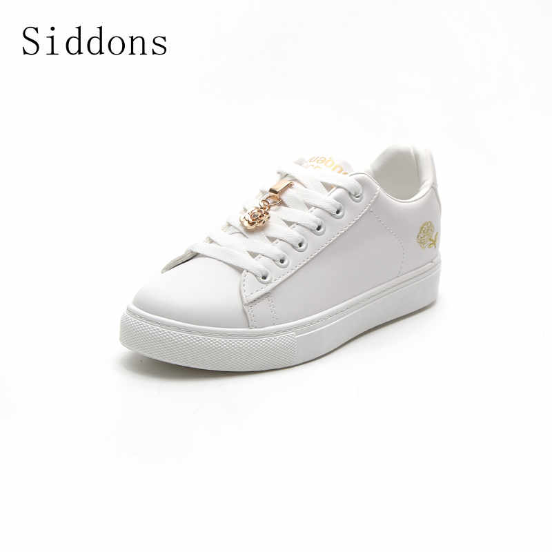 Siddons 2018 autumn white shoes flower rose ulcanizedsLace-up Casual Couple Shoes Woman Sneakers Tenis Feminino size: 35-40