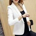 2016 Moda Inverno Casuais Mulheres Brancas Blazers e Jaquetas Femininas Casaco fino Femme Manga Comprida feminino plus size trabalho cape terno