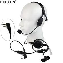 Walkie talkie Militar Tático fone de Ouvido de Condução Óssea Microfone boom Para Kenwood Rádio Portátil Baofeng UV 5R BF 888S UV 82 GT 3