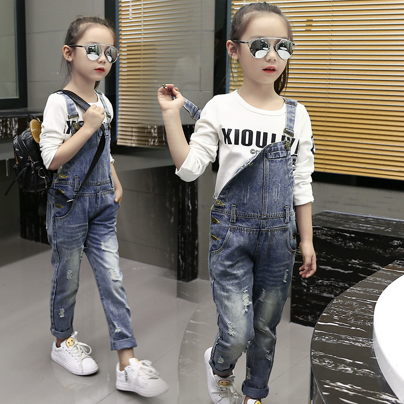 2018 Children's Clothing Ripped Jeans Baby Girl Leisure Denim Overalls ripped cuffed jeans