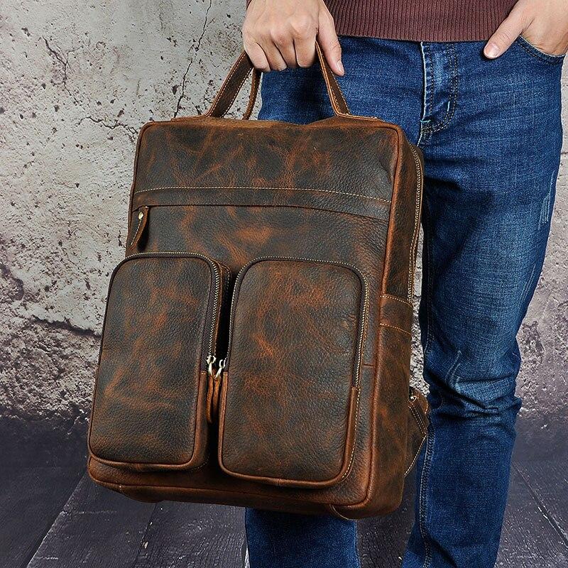 Hommes Crazy Horse sac à dos en peau de vache ordinateur portable livre sacs voyage grande capacité sac à dos école en cuir véritable sac à dos sac à dos - 2