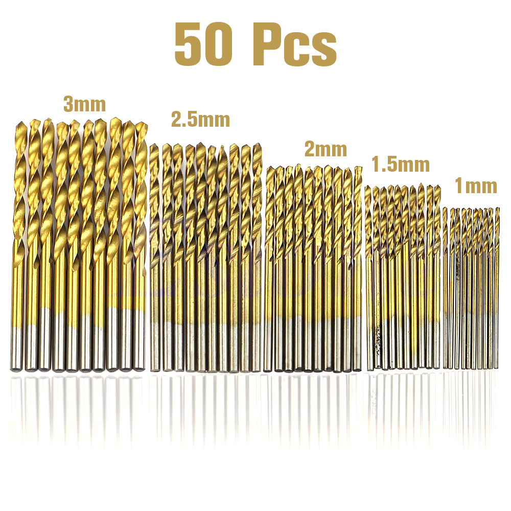 50pcs/Set Twist Drill Bit Set Saw Set HSS High Steel Titanium Coated Drill Woodworking Tool 1.0-3.0mm For Cordless Screwdriver 99pcs hss high steel titanium twist drill bit set saw set coated drill woodworkin tool 1 5 10mm for cordless screwdriver