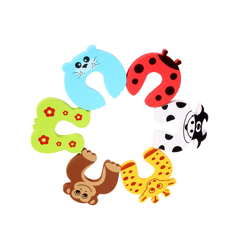 8 PCS Ladybug Tiger Giraffe Butterfly Monkey Seals Cows Cartoon Baby Safety Gate Card Baby Door Stopper