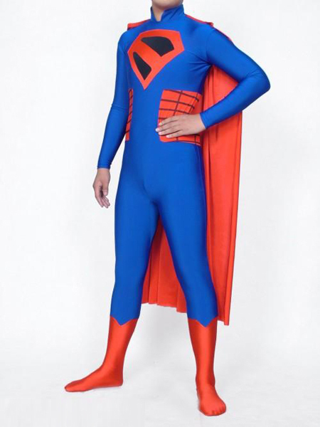 Free shipping Lycra Spandex zentai Red Blue Spiderman superhero party Halloween Costumes Cosplay with red cape Deluxe Body suit
