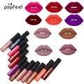 Popfeel Makeup Matte Lipstick Liquid Waterproof batom Long Lasting Tint Lip Gloss Red Velvet Brown Nude Lipstick Tattoo