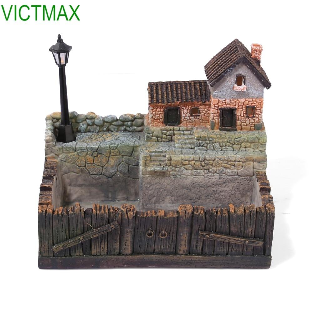 VICTMAX Microlandscraft Flowerpot Succulent Plant Pot Office Household Flower Pot With Lamp Garden Decoration - Black + Grey