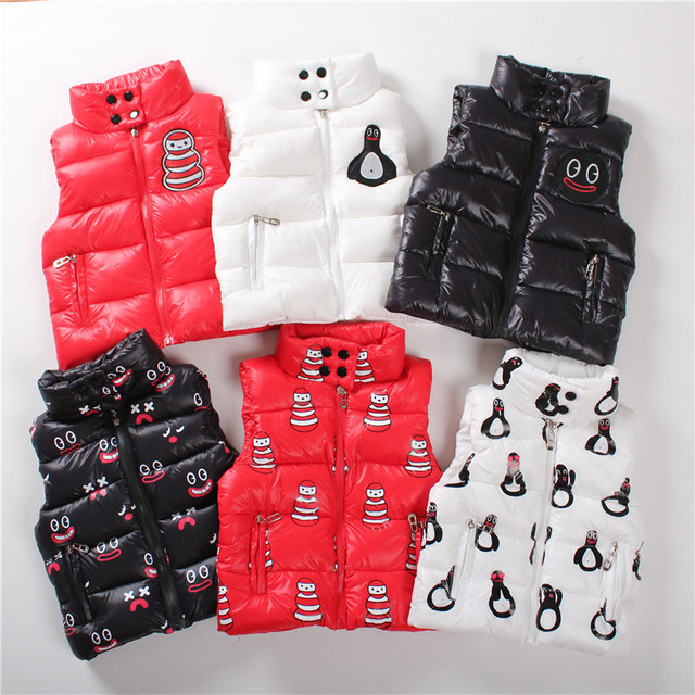 2016 baby boys girls vests waterproof jackets high collar penguins/smiley/snowman vest quilted coat H0047