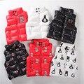 2016 muchachas de los bebés chalecos a prueba de agua chaquetas cuello alto pingüinos/smiley/muñeco de nieve chaleco acolchado escudo H0047