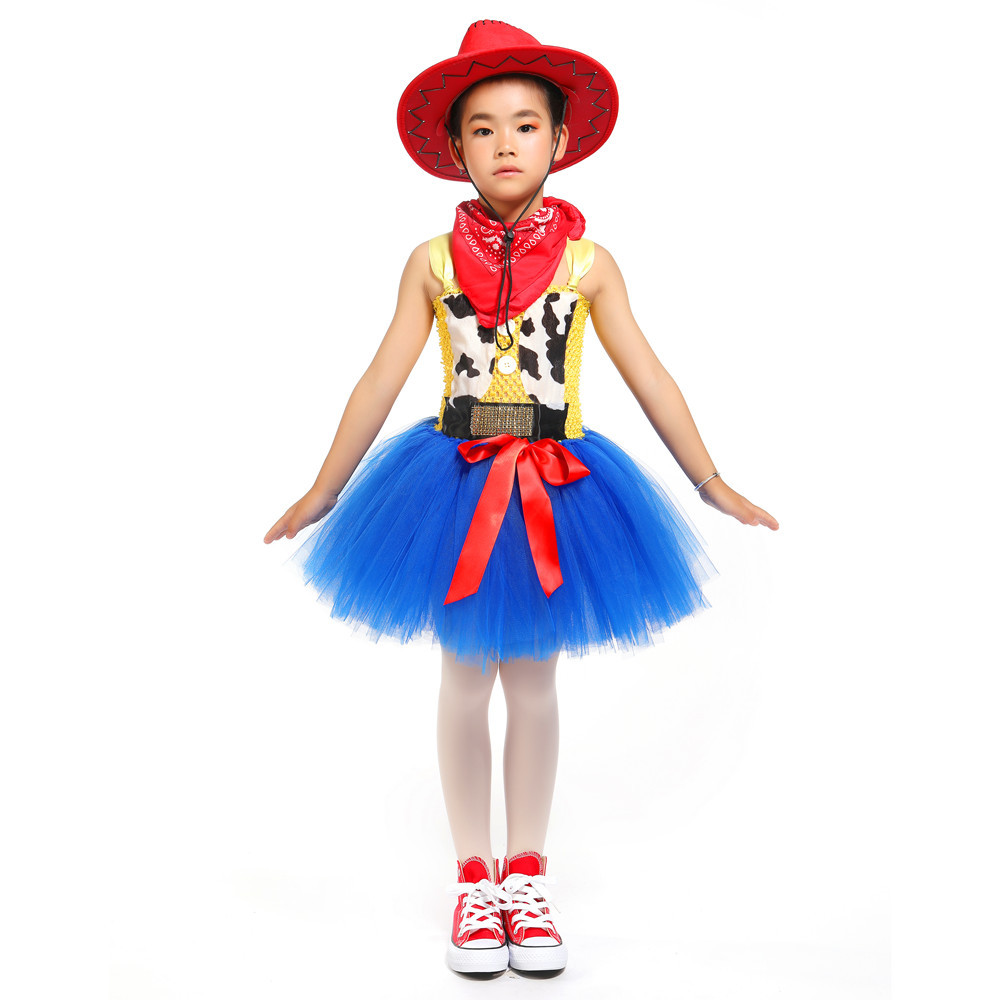 Image 5 - Toy Woody Cowboy Cowgirl Girls Tutu Dress with Hat Scarf Set Outfit Fancy Tulle Girl Birthday Party Dress Kids Halloween Costume-in Girls Costumes from Novelty & Special Use