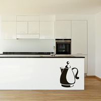 Hot Sale Creative Design Kettle Sticker On The Wall For The Kitchen PVC Home Decorative Wall