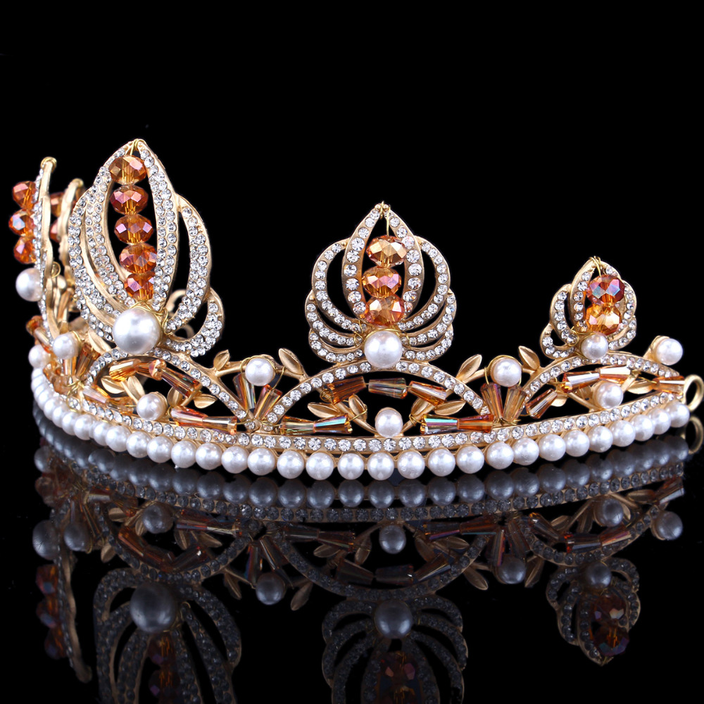 Champagne color crystal Vintage Headpiece rhinestone Pearl Tiara Crown  Handmade Wedding Party Prom Hairband Pageant Tiaras-in Hair Jewelry from  Jewelry ... 19897639f42c