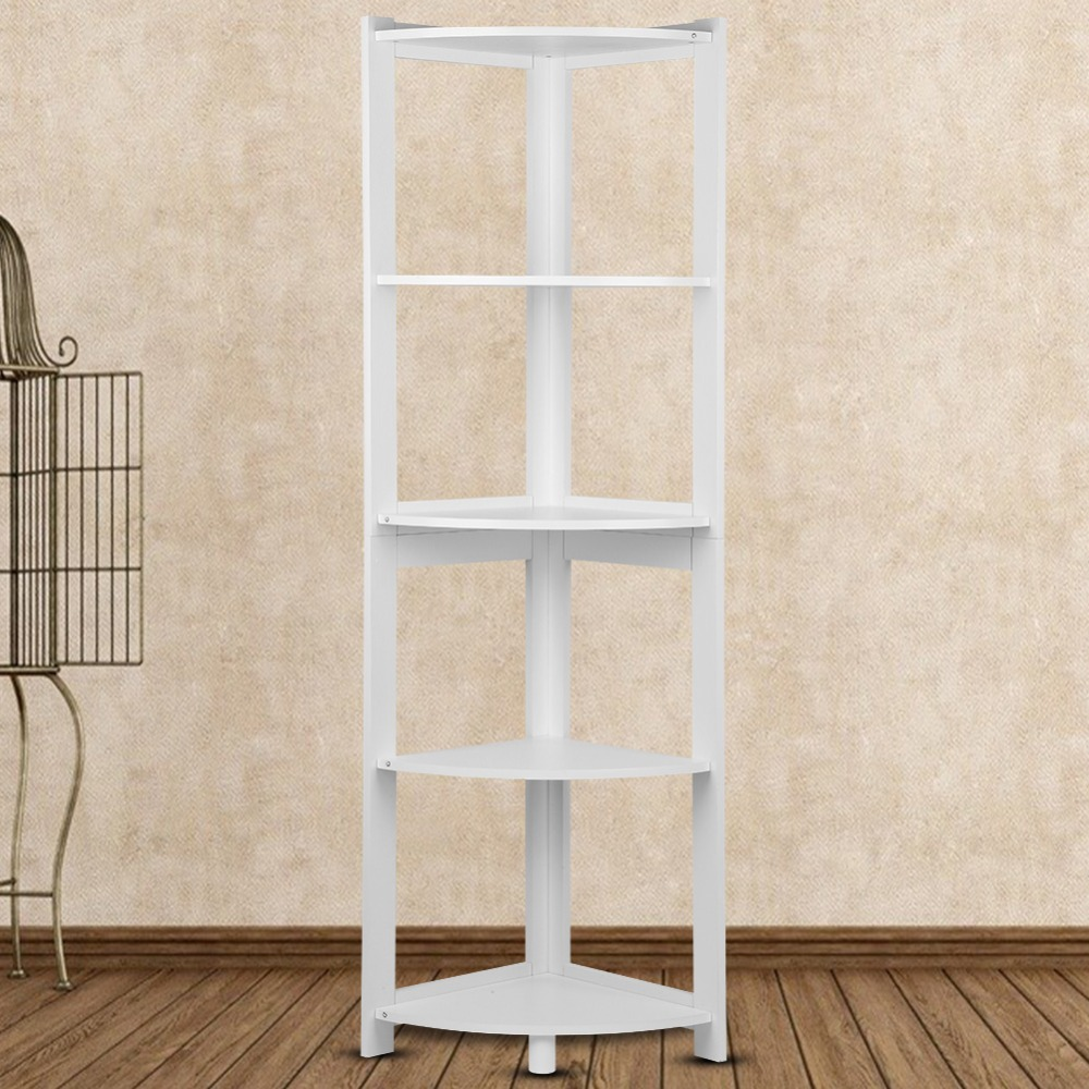 Bathroom Fixtures 5-tier Corner Bookshelf Storage Cabinet Bookcase Rack Organizer Cd Book Decor New