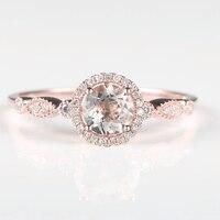 Solid 14K Rose Gold Natural Morganite Diamonds Women Engagement Ring Vintage Retro