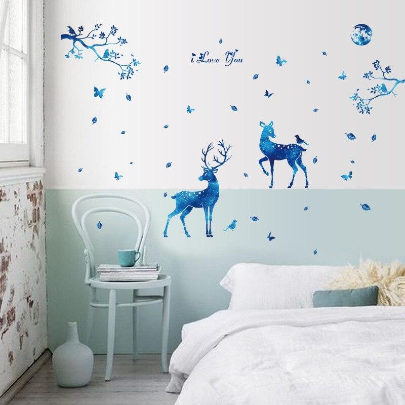 DIY Blau Sikawild Tier Wohnzimmer Hochzeitszimmer Dekoration Vinyl Wandaufkleber Baum Kinderzimmer Wohnkultur Aufkleber Poster